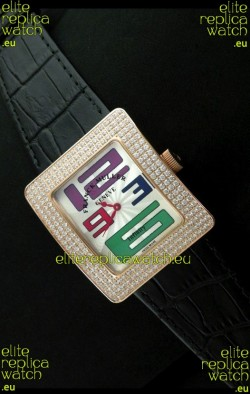 Franck Muller Geneve Infinity Japanese Gold Watch in Multi Color Numeral Markers