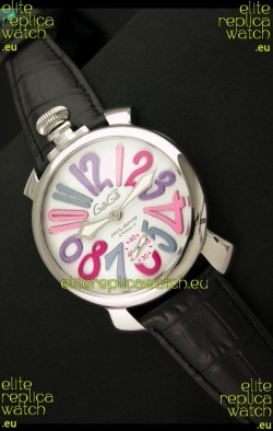 Gaga Milano Italy Japanese Replica Watch in Multi Color Arabic Markers