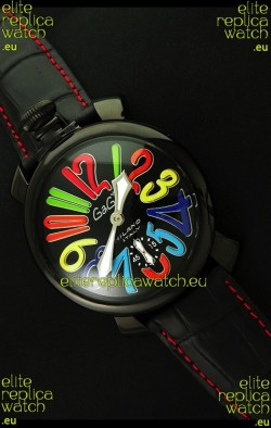 Gaga Milano Italy Japanese Replica PVD Watch in Black Dial