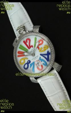 Gaga Milano Italy Manuale Replica Japanese Watch in White Strap