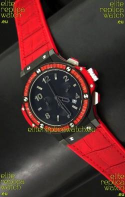 Hublot Big Bang All Black Edition Japanese Quartz Watch with Diamonds