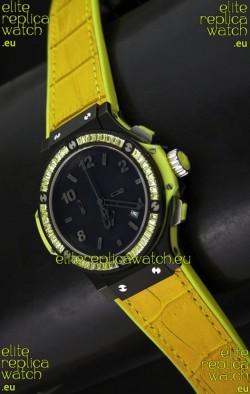 Hublot Big Bang All Black Edition Japanese Quartz Watch in Lemon Colour