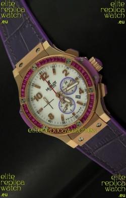Hublot Big Bang All Black Edition Japanese Quartz Watch in Pink Gold