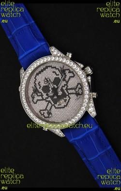 Five Time Zones J&C Skull Japanese Quartzin Full Diamonds