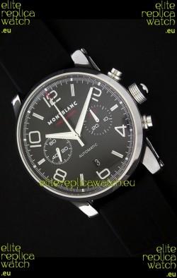Mont Blanc Meisterstuck Timewalker Swiss Watch in Black Dial