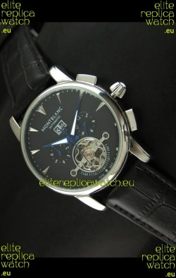 Mont Blanc Flying Tourbillon Japanese Replica Watch in Black Dial