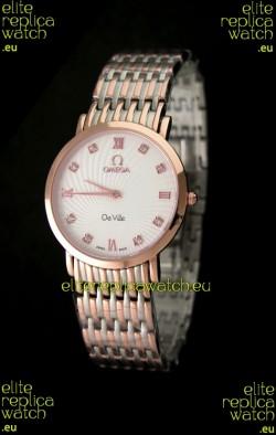 Omega DeVelie Japanese Replica Rose Gold Watch