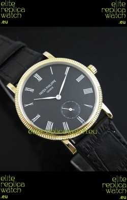 Patek Philippe Calatrava Japanese Manual Hand Wind Watch in Black Dial