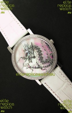 Piaget Mecanique Dragon Replica Watch in White Leather Strap