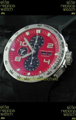 Porsche Design Flat Six P'6340 Swiss Chronograph Watch in Red Dial