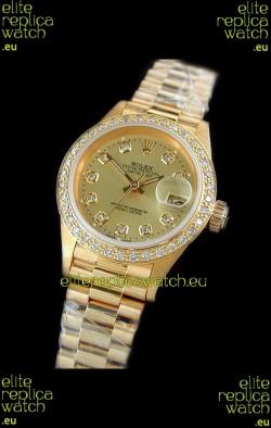 Rolex Datejust Ladies Swiss Replica Gold Watch