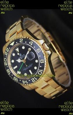 Rolex GMT Master II Swiss Replica Gold Watch in Black Dial