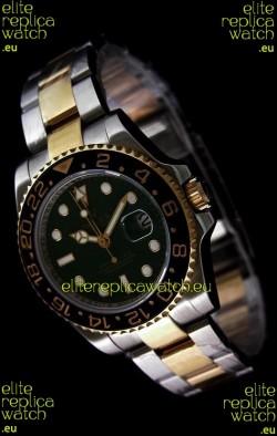 Rolex GMT Master II Swiss Replica Two Tone Gold Watch in Black Ceramic Bezel