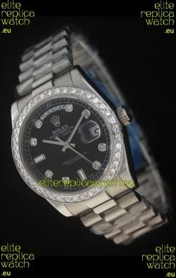 Rolex Day Date Just JapaneseReplica Black Watch in Full Diamond Bezel