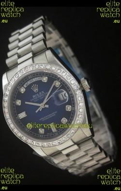 Rolex Day Date Just JapaneseReplica Watch in Dark Blue Dial