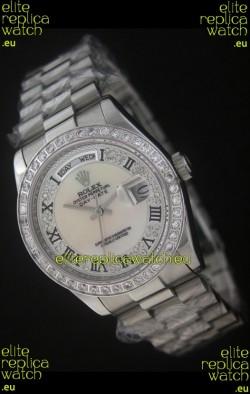 Rolex Day Date Just JapaneseReplica Watch in Mop Scream White Dial