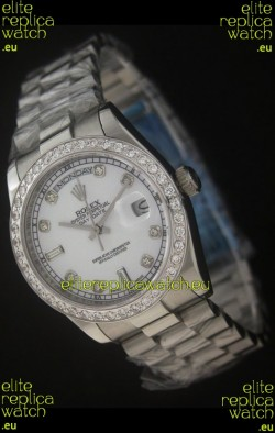 Rolex Day Date Just Japanese Replica Watch in Pearl White Dial