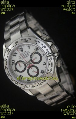 Rolex Daytona Japanese Replica Steel Watch in White Dial