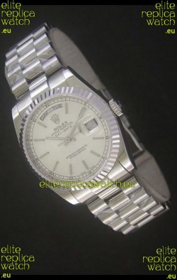 Rolex Day Date Just Japanese Replica Silver White Watch