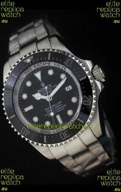 Rolex Sea-Dweller Deepsea Swiss Replica Steel Watch in Black Dial