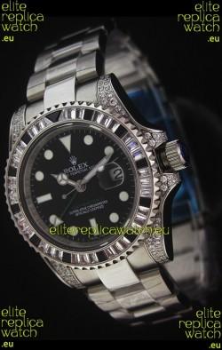 Rolex Pro-Hunter GMT Master II Swiss Replica Steel Watch in Diamond Bezel