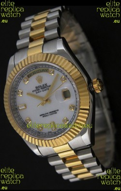 Rolex Day Date Just swiss Replica Two Tone Gold Watch in Mop White Dial