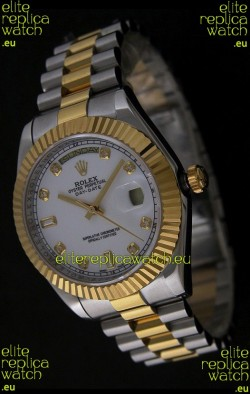 Rolex Day Date Just swissReplica Two Tone Gold Watch in White Dial