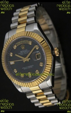Rolex Day Date Just Japanese Replica Two Tone Gold Watch in Mop Grey Dial