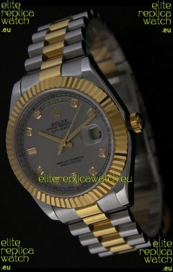 Rolex Day Date Just swiss Replica Two Tone Gold Watch in Grey Dial