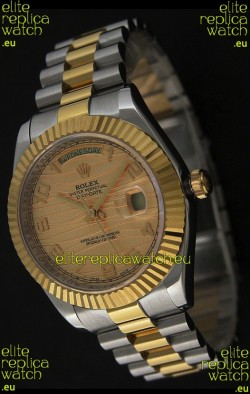 Rolex Day Date Just Japanese Replica Two Tone Gold Watch in Golden Stripe Pattern Dial