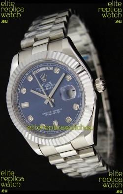 Rolex Oyster Perpetual Day Date Swiss Replica Watch in Dark Blue Dial