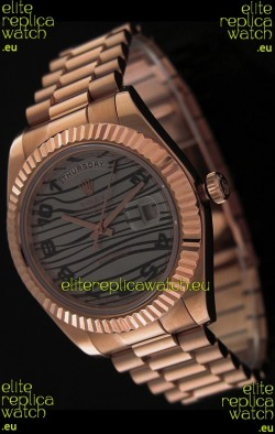 Rolex Oyster Perpetual Day Date Swiss Replica Pink Gold Watch in Waves Pattern Dial