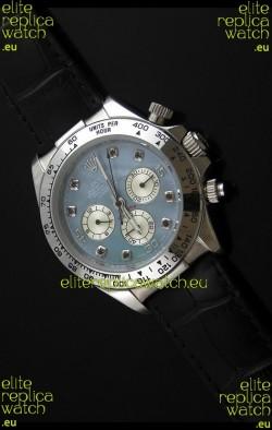 Rolex Daytona Japanese Replica Steel Watch in Light Blue Dial