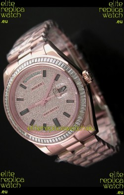 Rolex Day Date Swiss Automatic Rose Gold Watch in Diamond Bezel