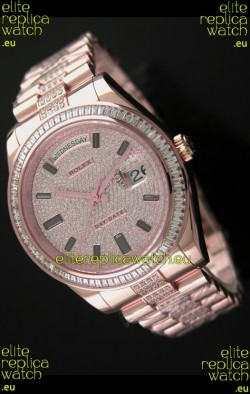 Rolex Day Date Swiss Automatic Rose Gold Watch in Diamond Bracelet
