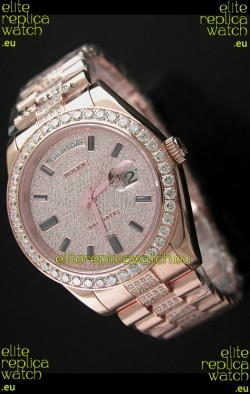 Rolex Day Date Swiss Automatic Rose Gold Watch in Ruby Stick Markers