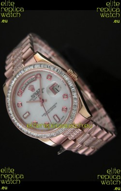 Rolex Oyster Perpetual Day Date Swiss Rose Gold Automatic Watch in White Mother of Pearl Dial