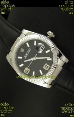 Rolex Replica Datejust Swiss Replica Watch - 37MM - Black Dial/Strap