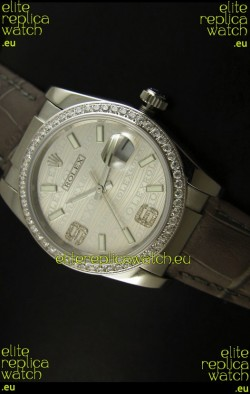 Rolex Replica Datejust Swiss Replica Watch - 37MM - Grey Dial/Strap