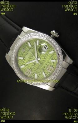 Rolex Replica Datejust Swiss Replica Watch - 37MM - Black Strap Green Dial