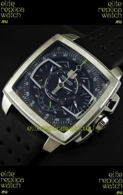 Tag Heuer Monaco Mikrograph Japanese Replica Watch in Black/Green Strap
