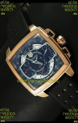 Tag Heuer Monaco Mikrograph Japanese Replica Rose Gold Watch