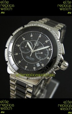 Tag Heuer Formula 1 Chronograph Swiss Replica Ceramic Ladies Watch in Black Dial