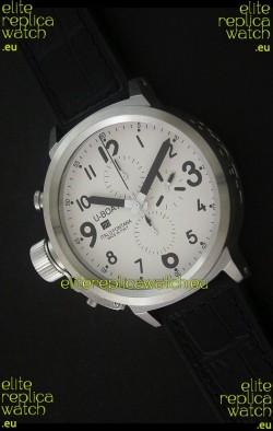 U-Boat Flightdeck Steel Watch in White Dial
