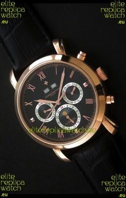 Vacheron Constantin Perpetual Calendar Japanese Watch in Black Dial