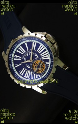 Roger Dubuis Excalibur Tourbillon Watch Japanese Movement - Blue Dial