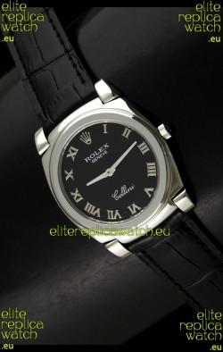 Rolex Cellini Japanese Replica Steel Watch in Black Dial