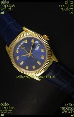 Rolex Day Date 36MM Yellow Gold Swiss Replica Watch - Dark Blue Dial
