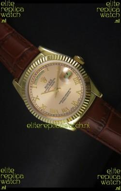 Rolex Day Date 36MM Yellow Gold Swiss Replica Watch - Champange Dial