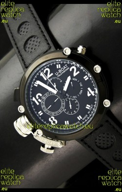 U-Boat Flightdeck Rattrapante Japanese Automatic Watch in Black Dial
